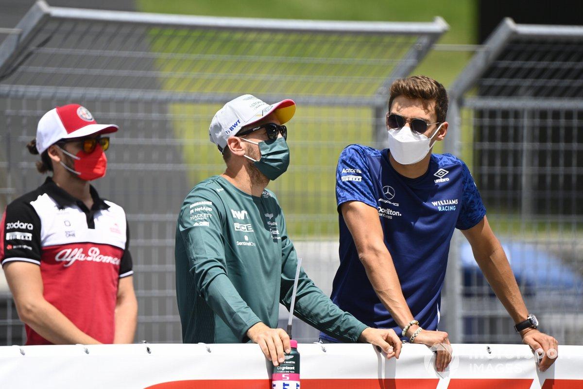 Antonio Giovinazzi, Alfa Romeo Racing, Sebastian Vettel, Aston Martin, George Russell, Williams