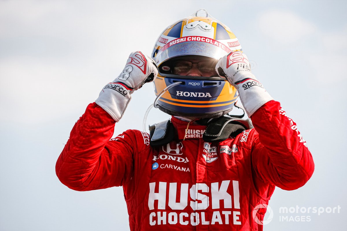 Ganador Marcus Ericsson, Chip Ganassi Racing Honda celebra su primera victoria en IndyCar