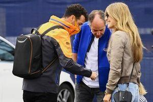 Daniel Ricciardo, McLaren, with Gerhard Berger and his girlfriend Helene