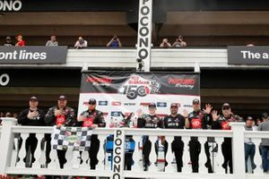 John Hunter Nemechek, Kyle Busch Motorsports, Toyota Tundra Power Up Premium Trail Mix celebrates his win