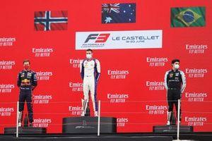Podium: Race winner Jack Doohan, Trident, second place Dennis Hauger, Prema Racing, third place Caio Collet, MP Motorsport