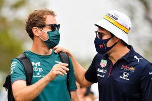 Sebastian Vettel, Aston Martin and Sergio Perez, Red Bull Racing
