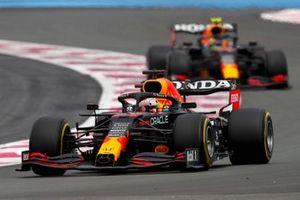 Max Verstappen, Red Bull Racing RB16B, leads Sergio Perez, Red Bull Racing RB16B