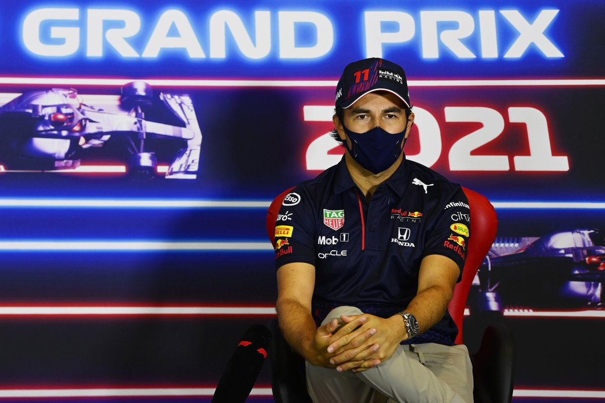 Sergio Perez, Red Bull Racing, in the press conference