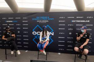 Sara Price, Chip Ganassi Racing et Johan Kristoffersson, Rosberg X Racing, en conférence de presse