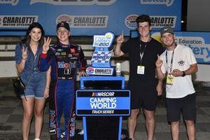 John Hunter Nemechek, Kyle Busch Motorsports, Toyota Tundra Mobil 1 celebrates his win