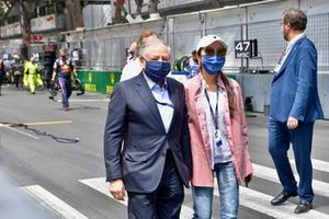Jean Todt, President, FIA, and his wife Michelle Yeoh on the grid