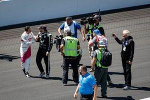 Helio Castroneves, Meyer Shank Racing Honda celebrates his victory, Conor Daly, Ed Carpenter Racing Chevrolet