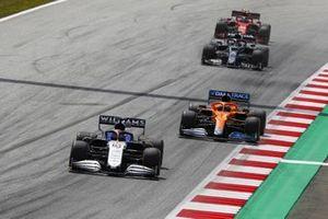 George Russell, Williams FW43B, Daniel Ricciardo, McLaren MCL35M, and Yuki Tsunoda, AlphaTauri AT02