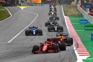 Carlos Sainz Jr., Ferrari SF21, Lando Norris, McLaren MCL35M, Fernando Alonso, Alpine A521, and Lance Stroll, Aston Martin AMR21