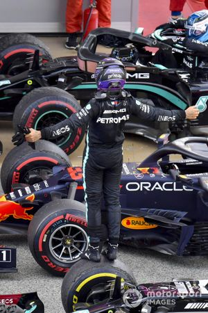 Lewis Hamilton, Mercedes, 1st position, celebrates on arrival in Parc Ferme