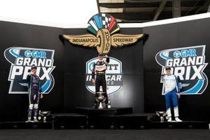 Podium: Romain Grosjean, Dale Coyne Racing with RWR Honda, Race winner Rinus VeeKay, Ed Carpenter Racing Chevrolet, Alex Palou, Chip Ganassi Racing Honda