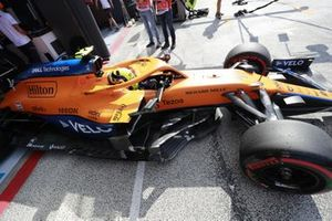 Lando Norris, McLaren MCL35M, leaves the garage