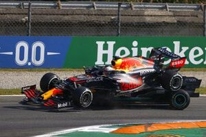 Lewis Hamilton, Mercedes W12 and Max Verstappen, Red Bull Racing RB16B, crash out