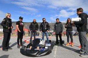 Emma Gilmour, Veloce Racing, Oliver Bennett, Hispano Suiza Xite Energy Team, Stephane Sarrazin, Veloce Racing, Alejandro Agag, CEO, Extreme E, Sebastien Loeb, X44, and Cristina Gutierrez, X44, at an e-karting event