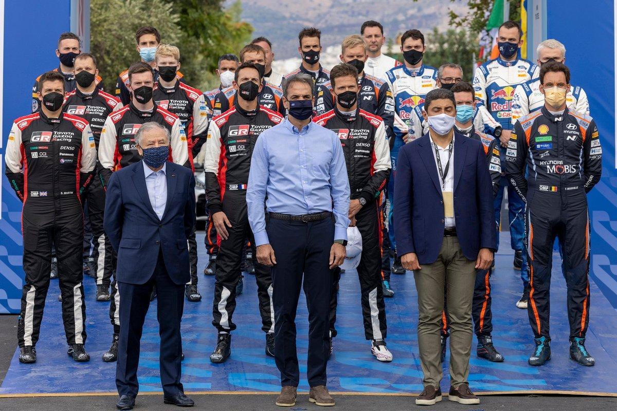 Les pilotes WRC avec Jean Todt, Président FIA