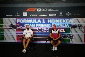 Nikita Mazepin, Haas VF-21 Antonio Giovinazzi, Alfa Romeo Racing C41 at the press conference