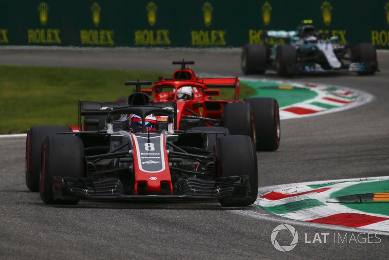 Romain Grosjean, Haas F1 Team VF-18, Sebastian Vettel, Ferrari SF71H dan Valtteri Bottas, Mercedes AMG F1 W09