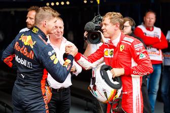 Max Verstappen, Red Bull Racing and Sebastian Vettel, Ferrari celebrate in parc ferme