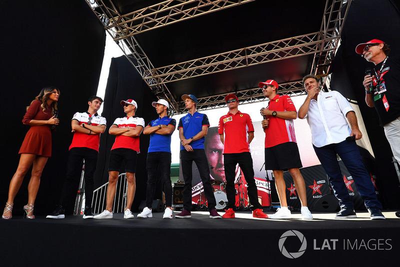 Federica Masolin, Sky Italia Presenter on stage with Charles Leclerc, Sauber, Marcus Ericsson, Sauber, Pierre Gasly, Scuderia Toro Rosso Toro Rosso, Brendon Hartley, Scuderia Toro Rosso, Kimi Raikkonen, Ferrari and Sebastian Vettel, Ferrari