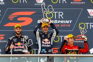 Podium: race winner Jamie Whincup, Triple Eight Race Engineering Holden, second place Shane van Gisbergen, Triple Eight Race Engineering Holden, third place David Reynolds, Erebus Motorsport Holden