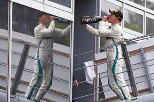Valtteri Bottas, Mercedes AMG F1, drinks champagne on the podium