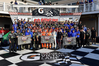 Chase Elliott, Hendrick Motorsports, Chevrolet Camaro SunEnergy1 celebrates in victory lane with William Byron, Hendrick Motorsports, Chevrolet Camaro Hertz, Jimmie Johnson, Hendrick Motorsports, Chevrolet Camaro Lowe's for Pros, and Alex Bowman, Hendrick Motorsports, Chevrolet Camaro Nationwide Children's Hospital; the 250th win for Hendrick Motorsports