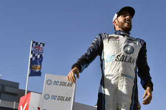Ross Chastain, Chip Ganassi Racing, Chevrolet Camaro DC Solar celebrates his win