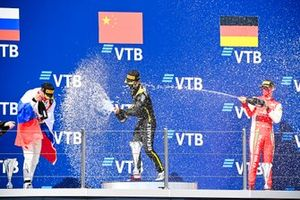 Nikita Mazepin, Hitech Grand Prix, Race Winner Guanyu Zhou, UNI-Virtuosi and Mick Schumacher, Prema Racing celebrate on the podium with the champagne