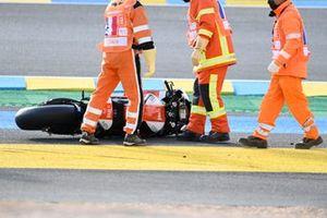 Moto de Xavier Simeon, LCR E-Team après son crash