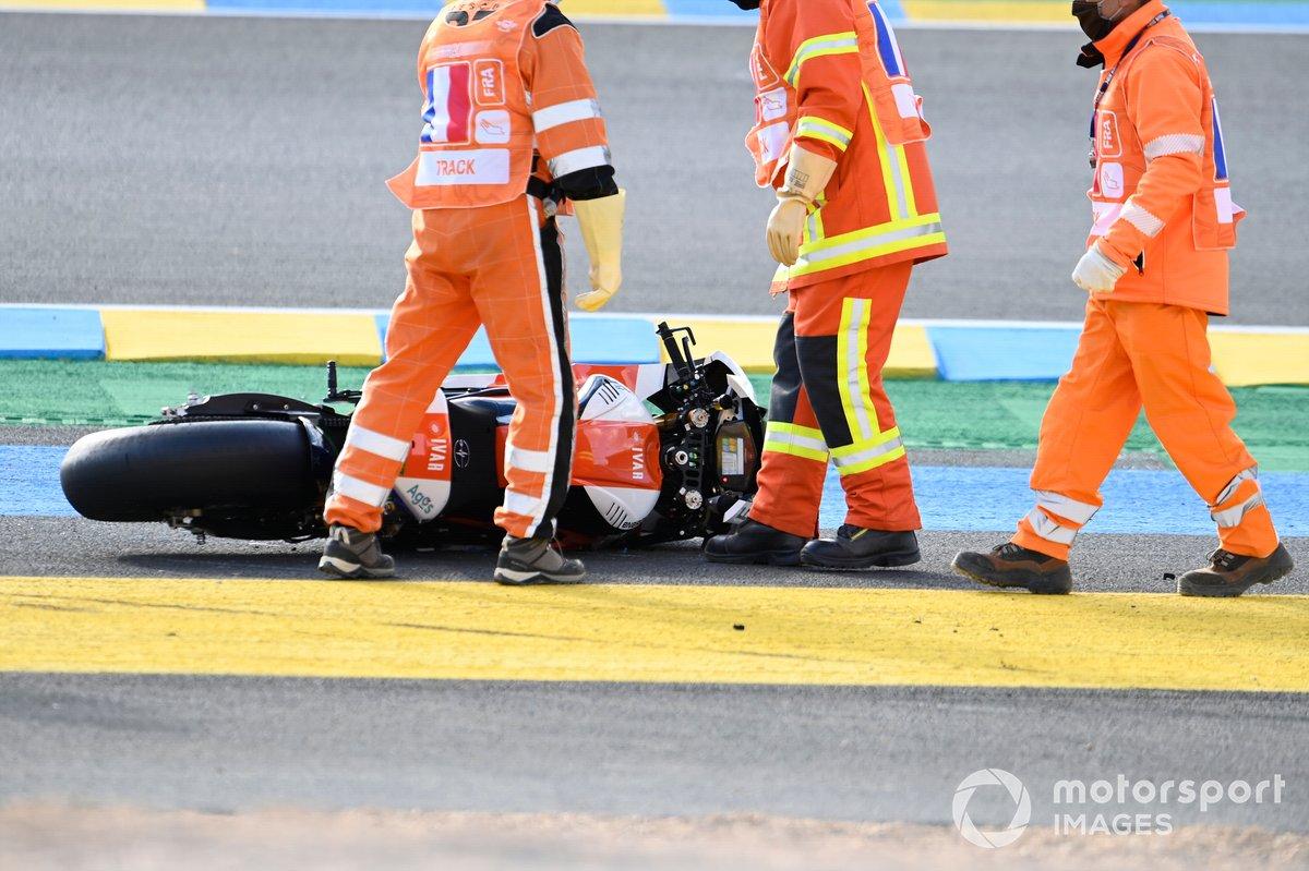 Moto de Xavier Simeon, LCR E-Team después de la caída