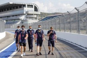 Lance Stroll, Racing Point, on a track walk