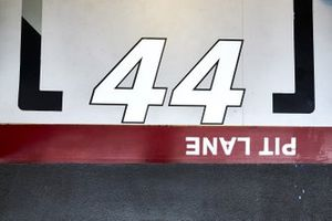 The race number of Lewis Hamilton, Mercedes F1 W11, on the floor of the garage