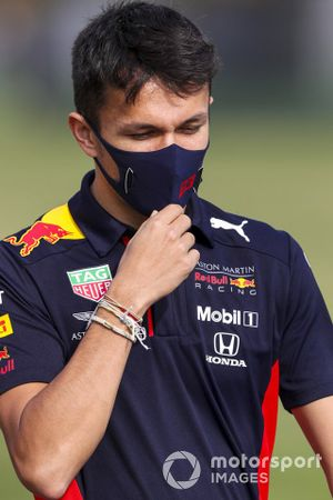 Alex Albon, Red Bull Racing, walks the track