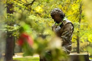 A statue tribute to Ayrton Senna
