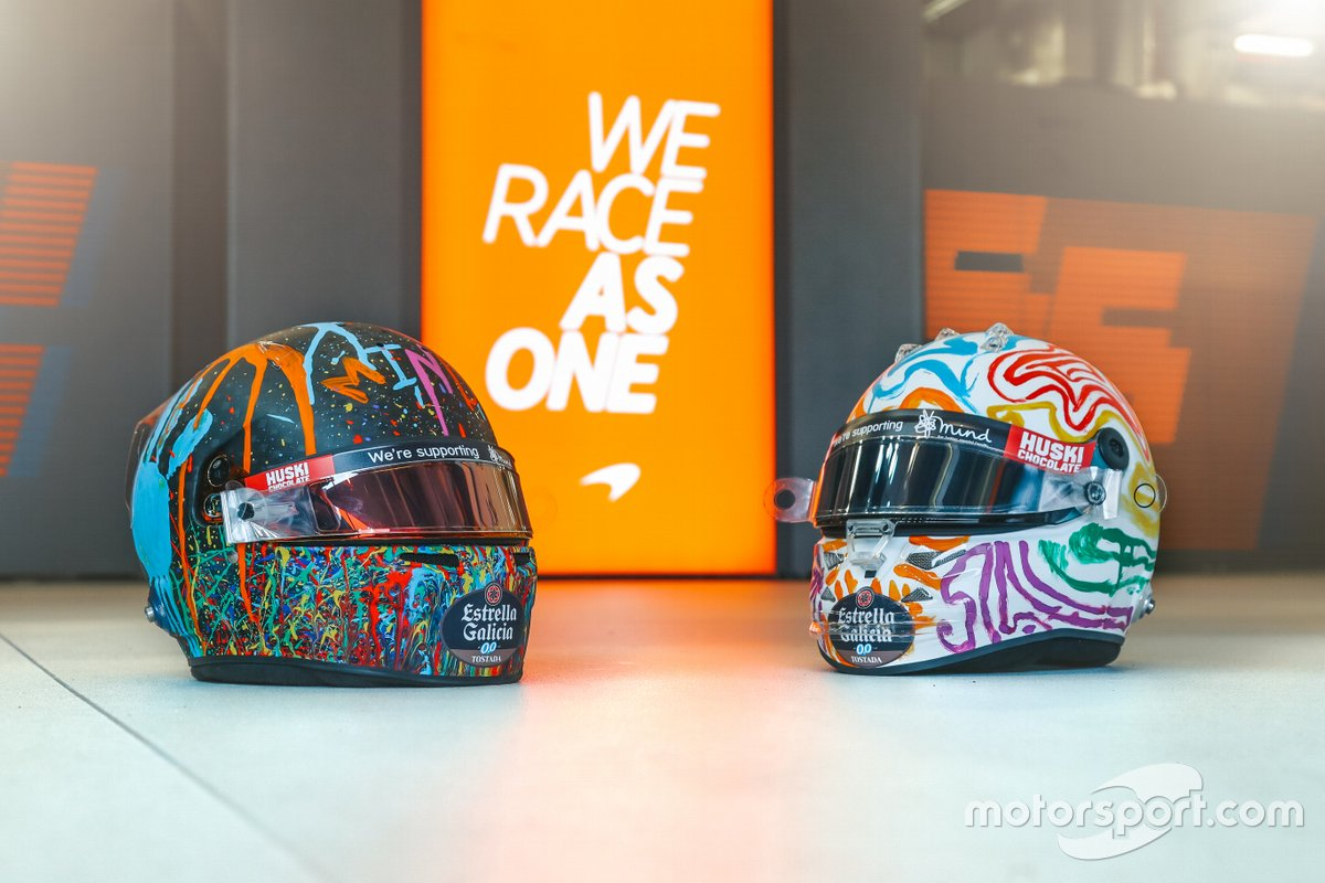 Helmets of Carlos Sainz Jr., and Lando Norris, McLaren with special livery