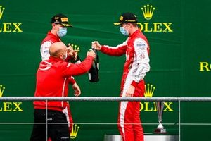 Logan Sargeant, Prema Racing and Frederik Vesti, Prema Racing celebrate on the podium