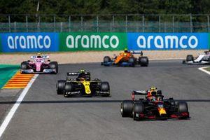Alex Albon, Red Bull Racing RB16, Esteban Ocon, Renault F1 Team R.S.20, Lance Stroll, Racing Point RP20, and Lando Norris, McLaren MCL35