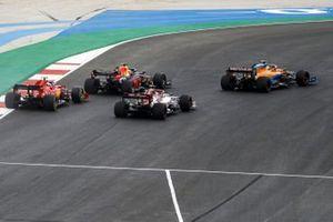 Lando Norris, McLaren MCL35, Max Verstappen, Red Bull Racing RB16, Kimi Raikkonen, Alfa Romeo Racing C39, and Charles Leclerc, Ferrari SF1000