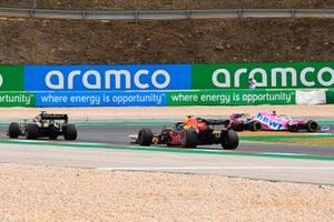 Lance Stroll, Racing Point RP20, Esteban Ocon, Renault F1 Team R.S.20, and Alex Albon, Red Bull Racing RB16