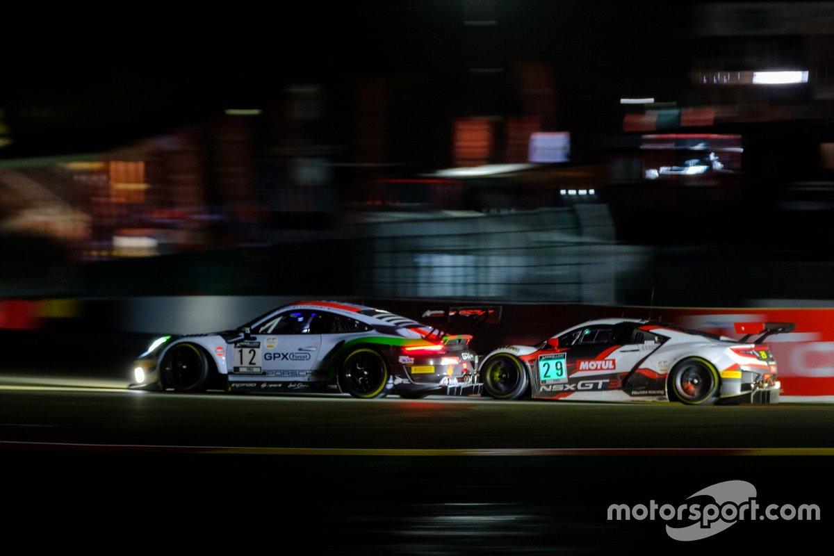 #12 GPX Racing Porsche 911 GT3-R: Matt Campbell, Patrick Pilet, Mathieu Jaminet, #29 Team Honda Racing Honda Acura NSX GT3: Dane Cameron, Mario Farnbacher, Renger van der Zande