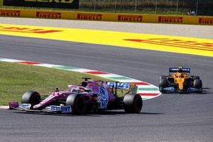 Sergio Perez, Racing Point RP20, Lando Norris, McLaren MCL35