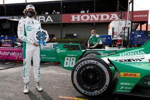 Pole sitter Colton Herta, Harding Steinbrenner Racing Honda
