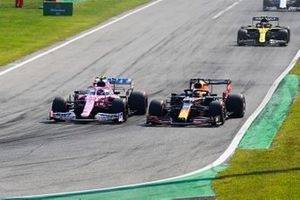 Lance Stroll, Racing Point RP20 and Max Verstappen, Red Bull Racing RB16 go to side to side