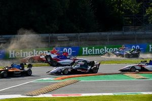Oscar Piastri, Prema Racing, Michael Belov, Charouz Racing System and David Schumacher, Carlin crash whilst Theo Pourchaire, ART Grand Prix drives past