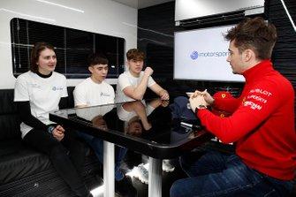 Charles Leclerc, Ferrari meets members of the Motorsport UK Academy