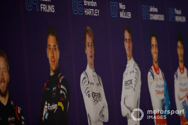 Portraits of the Formula E drivers including Brendon Hartley, GEOX Dragon