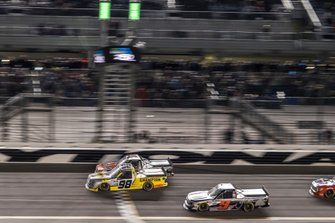 Grant Enfinger, ThorSport Racing, Ford F-150 Champion/ Curb Records takes the checkered flag to win the race