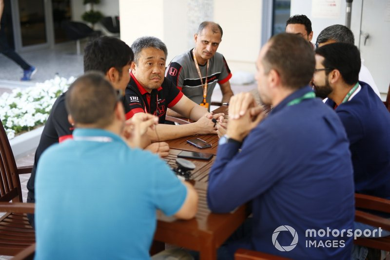 Masashi Yamamoto, General Manager, Honda Motorsport, talks to the media