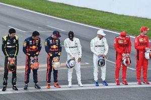 Esteban Ocon, Renault F1, Alexander Albon, Red Bull Racing, Max Verstappen, Red Bull Racing, Lewis Hamilton, Mercedes-AMG Petronas F1, Valtteri Bottas, Mercedes-AMG Petronas F1, Charles Leclerc, Ferrari and Sebastian Vettel, Ferrari line up on the track